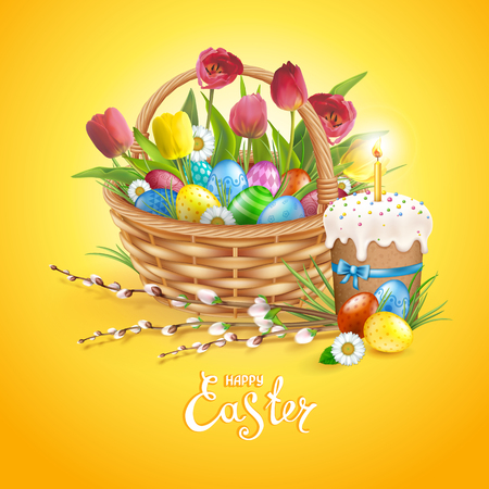 Easter composition with realistic glossy eggs in basket, cake, candle, willow twigs, flowers daisy and tulips. Inscription Happy Easter. Yellow background. Template for cards, banners, posters, calendars