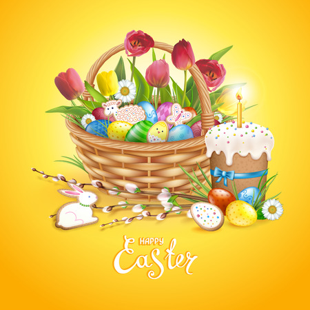 Easter composition with realistic glossy eggs and cookies in the shape of eggs, chicken, Bunny, lamb in basket. Cake with candle, willow twigs, flowers daisy and tulips. Inscription Happy Easter. Yellow background. Ilustracja