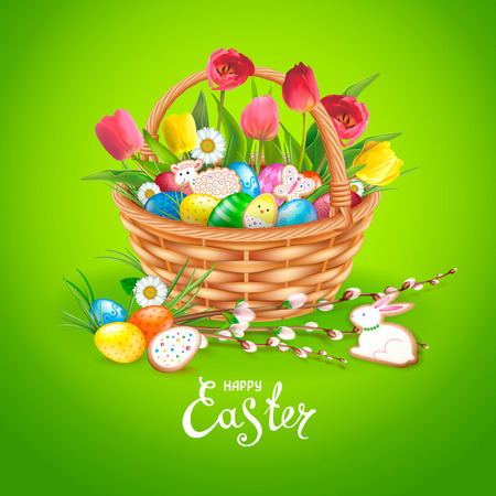 Easter composition with realistic glossy eggs and cookies in the form of eggs, chicken, Bunny, lamb in basket. Wllow twigs, flowers daisy and tulips. Inscription Happy Easter. Green background.