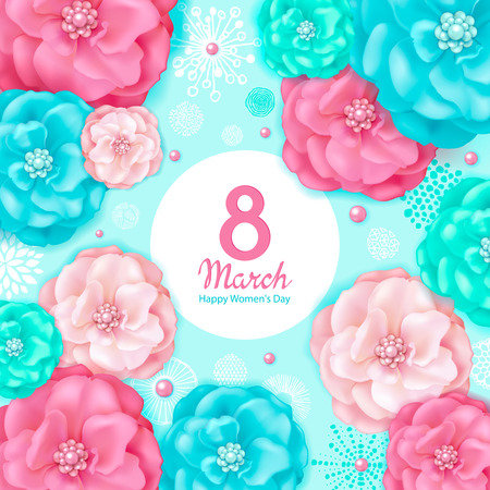 International Womens Day 8 March. Floral spring background with pink and turquoise decorative flowers, abstract elements hand drawn texture. Template for card, sale announcement Ilustração