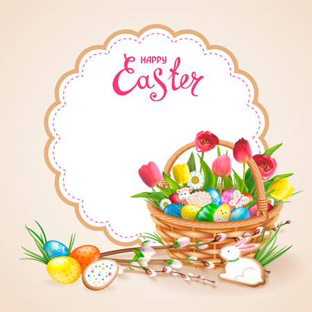 Easter composition with realistic glossy eggs and cookies in the form of eggs, chicken, Bunny, lamb in basket. Wllow twigs, flowers daisy and tulips. Inscription Happy Easter in round frame.