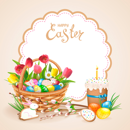 Easter composition with realistic glossy eggs and cookies