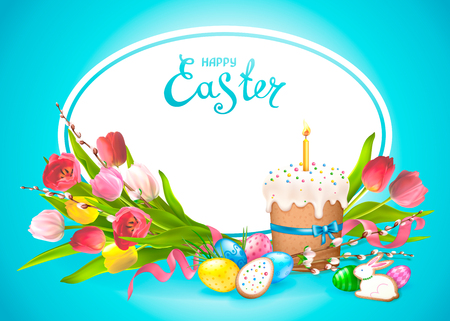 Easter composition with realistic glossy eggs, cookies in the form of eggs and Bunny and Easter cake with candle. Bouquet of flowers tulips with willow twigs. Inscription Happy Easter in a ellipse frame. Illustration