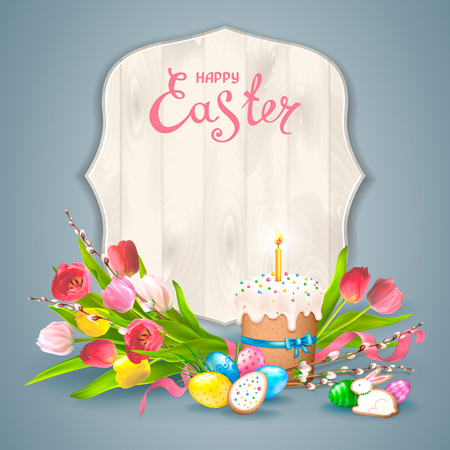 Easter composition with realistic glossy eggs, cookies in the form of eggs and Bunny and Easter cake with candle. Bouquet of flowers tulips with willow twigs. Inscription Happy Easter in a wood frame.