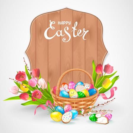 卵、鶏肉、バニー、ラムの形でリアルな光沢のある卵とクッキーを持つイースター組成物。柳の小枝と花のチューリップの花束。木枠の碑文ハッピ