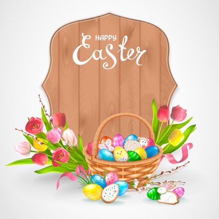 Easter composition with realistic glossy eggs and cookies in the form of eggs, chicken, Bunny, lamb in basket. Bouquet of flowers tulips with willow twigs. Inscription Happy Easter in a wood frame. Ilustracja