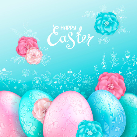 Shiny Easter eggs pastel colors on a light blue background with floral hand drawn ornament and decorative rose flowers.