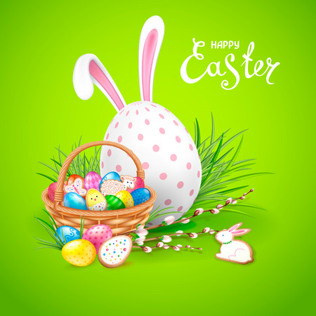 Easter greeting card template with  basket filled with eggs and cookies.