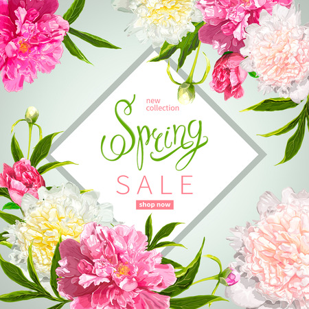 Floral background with blooming pink and light yellow peonies, buds, green leaves. Inscription Spring Sale in a frame. Template for cards, banners on 8 March, Mothers Day, Birthday, Sale announcement Çizim