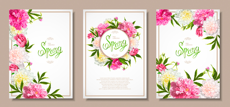 Set of three floral backgrounds with blooming pink and light yellow peonies, buds, green leaves. Inscription Spring. Template for card, banner on 8 March, Mothers Day, birthday, sale, wedding.