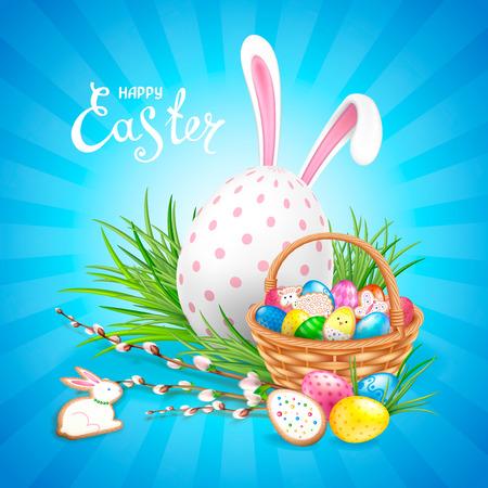 Composición de Pascua con gran huevo blanco decorado, orejas de conejo y canasta llena de huevos y galletas. Ramitas de sauce y hierba verde. Plantilla para tarjetas de felicitación, pancartas, carteles. Foto de archivo - 97390439