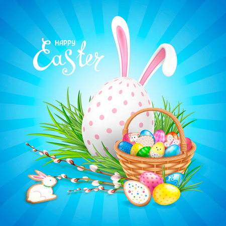 Easter composition with big white decorated egg, ears of Bunny and basket filled with eggs and cookies. Willow twigs and green grass. Template for greeting cards, banners, posters.