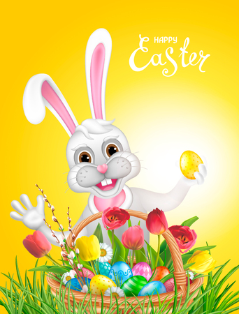 Composition with funny easter Bunny, basket filled with colored eggs, wllow twigs, flowers daisy and tulips. Inscription Happy Easter. Template for greeting cards, calendars, banners, posters