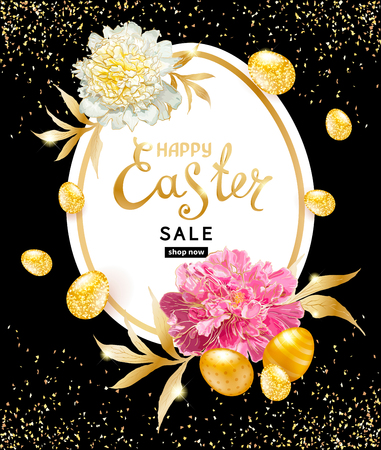 Shiny golden decorated eggs, hand drawn flowers Paeonies with glitters on a black background. Inscription Easter Sale in frame. Template for cards, banners, discount voucher, announcements of sales Vettoriali