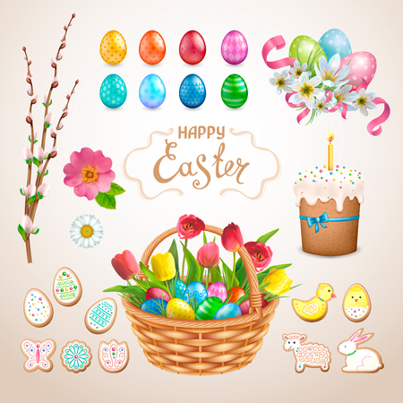 Set of Easter items. Painted eggs with different patterns, cake, cookies in the form of eggs, chicken, Bunny, lamb, flower. Basket with tulips, wild rose, zephyranthes with ribbons