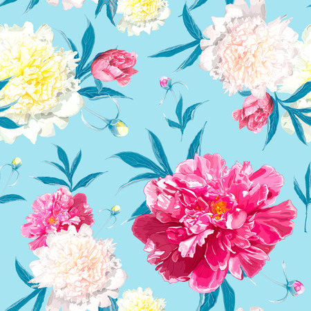 Seamless pattern with pink and light yellow Peonies flowers on a blue background. Hand drawn sketch. Template for floral textile design, paper, wallpaper, web. Spring and summer composition