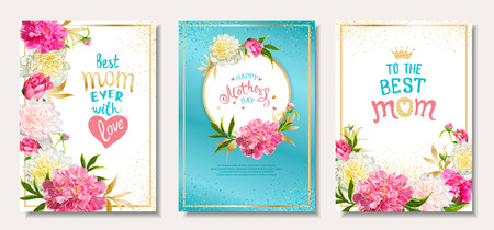 Happy Mothers Day. Set of three templates with pink peony flowers, hand-drawn lettering for BEST MOM, golden frame and and sequins. Template for greeting cards, invitations, posters, banners. Vectores