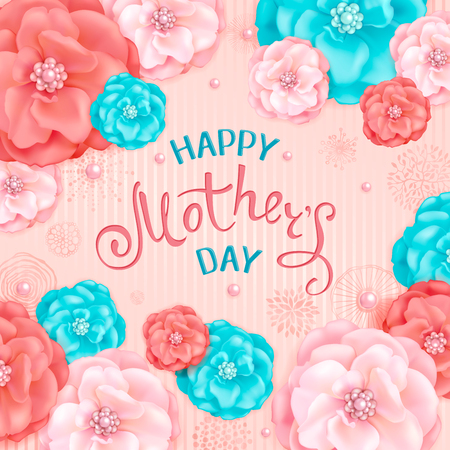 Happy Mothers Day background with pink and turquoise decorative flowers, abstract hand drawn elements. Design for greeting cards, calendars, banners, posters, invitations Stock Illustratie