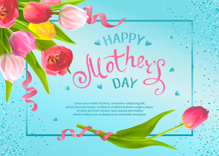 Happy Mothers Day. Template with bouquet of tulip flowers and hand-drawn lettering, shiny sequins on a blue background. Design for greeting card, invitation, poster, banner, sale announcement, voucher