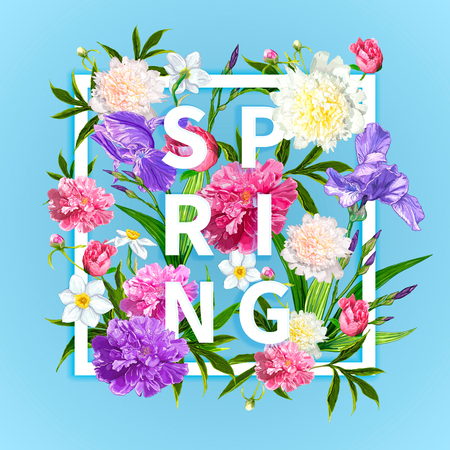 Inscription Spring in a square frame with blooming flowers pink Peonies, violet Irises, Narcissus on a blue background. Template for greeting card, invitations, posters, t-shirts, banners, web