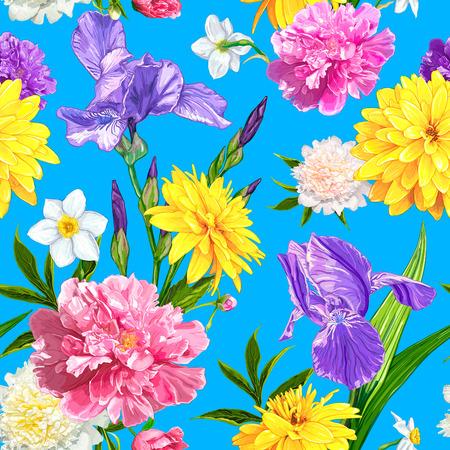 青い背景に牡丹、アイリス、ナルキッソス、ルドベッキアの花とシームレスなパターン。手描きのスケッチ。花の織物のデザイン、紙、壁紙、ウェ  イラスト・ベクター素材