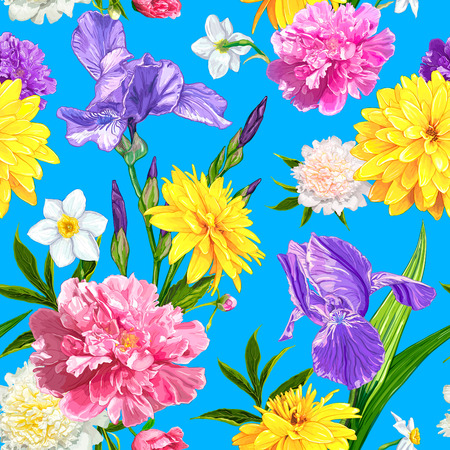 Seamless pattern with Peonies, Iris, Narcissus and Rudbeckia flowers on a blue background. Hand drawn sketch. Template for floral textile design, paper, wallpaper, web. Spring and summer composition 일러스트
