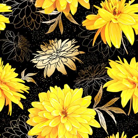 スパンコールと黒い背景にゴールデンボールとも呼ばれるルドベッキア・ラシニアタの花とシームレスなパターン。手描きのスケッチ。花の織物の