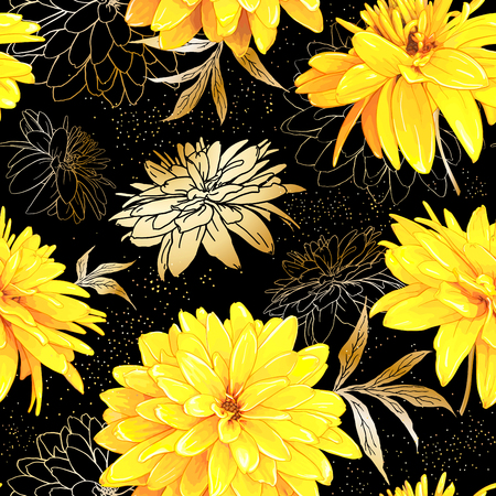 Seamless pattern with flowers of Rudbeckia Laciniata, also called Golden Ball on a black background with sequins. Hand drawn sketch. Template for floral textile design, paper, wallpaper, web.