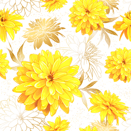 Seamless pattern with flowers of Rudbeckia Laciniata, also called Golden Ball on a white background with sequins. Hand drawn sketch. Template for floral textile design, paper, wallpaper, web. Illustration