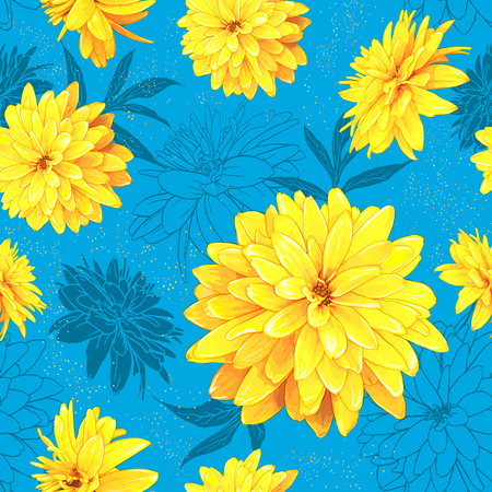 Seamless pattern with flowers of Rudbeckia Laciniata