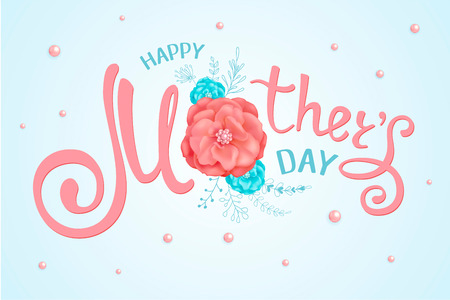 Inscription Happy Mothers Day with decorative flowers of roses, floral hand drawn elements on a light background with beads. Template for greeting card, banner, poster, voucher, sale announcement