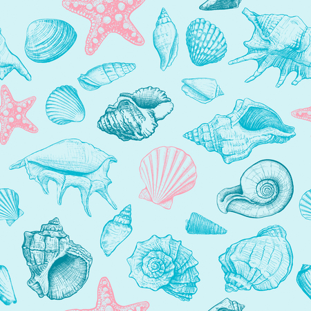 Seamless pattern with seashells different shapes and starfish on a blue background. Hand drawn sketch. Vector illustration