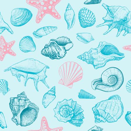 Wzór z muszelek różnych kształtów i rozgwiazdy na niebieskim tle. Ręcznie rysowane szkic. Ilustracji wektorowych Ilustracje wektorowe