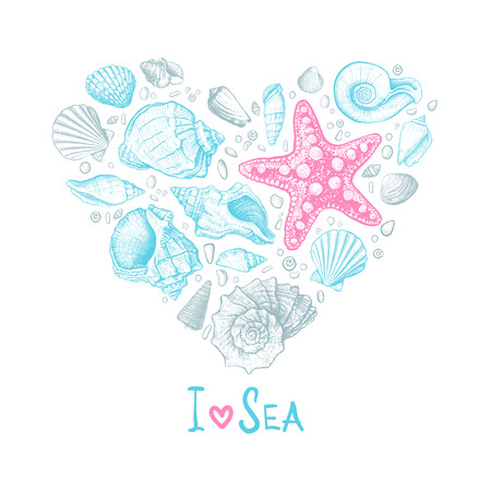 Inscription I Love Sea. Big heart consisting of shells different shapes, starfish and pebbles on a white background. Hand drawn sketch. Vector illustration