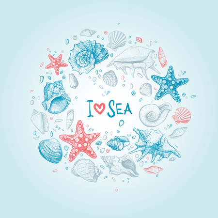 Hand-drawn background in sketch-style with shells of different shapes, sea stars and pebbles. Inscription I Love Sea in the center. Vector illustration Ilustrace