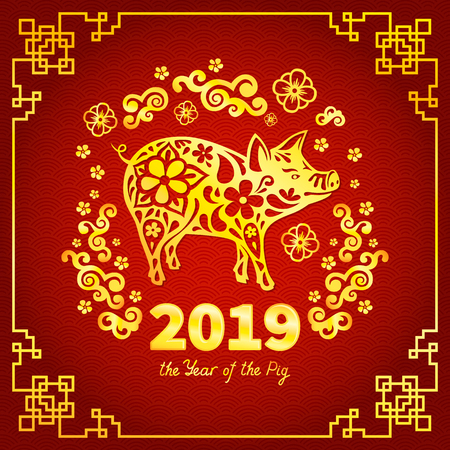 Pig is a symbol of the 2019 Chinese New Year. Greeting card in Oriental style. Golden frame, floral pattern and zodiac sign Pig on red background.