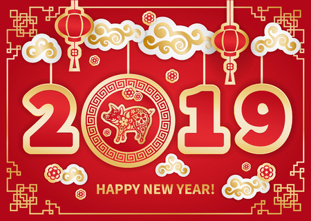 Pig is a symbol of the 2019 Chinese New Year. Greeting card in Oriental style. Frame, floral elements, lanterns and clouds around Golden zodiac sign Pig on red background. Paper cut art Foto de archivo - 105223139