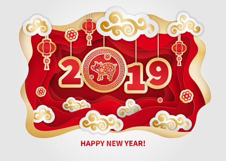 Pig is a symbol of the 2019 Chinese New Year. Greeting card in Oriental style. Frame, floral elements, lanterns and clouds around Golden zodiac sign Pig on red background. Paper cut art