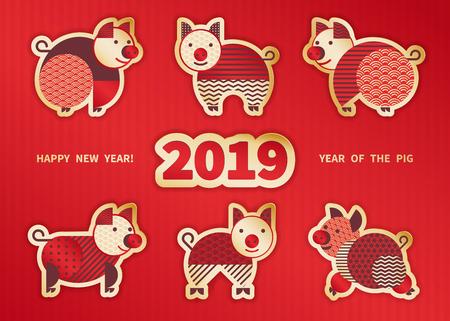 豚は2019年の旧正月のシンボルです。豚、幾何学的要素と東洋スタイルのグリーティングカード