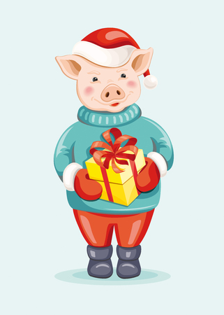 Cute cartoon pig in a red Santas hat and mittens holding gift box. Zodiac sign Pig. Symbol of the 2019 Chinese New Year. Illustration