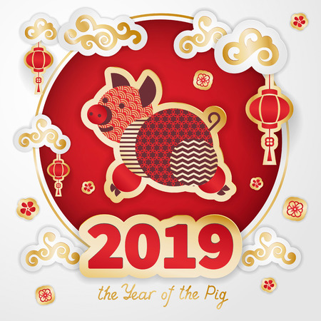 Pig is a symbol of the 2019 Chinese New Year. Greeting card in Oriental style. Round frame, floral elements, lanterns and Golden zodiac sign Pig on red background. Paper cut art