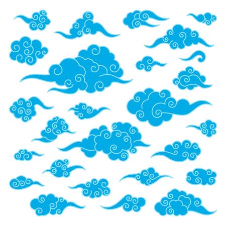 Set of oriental asian clouds different shapes. Template for chinese art decoration. Illusztráció