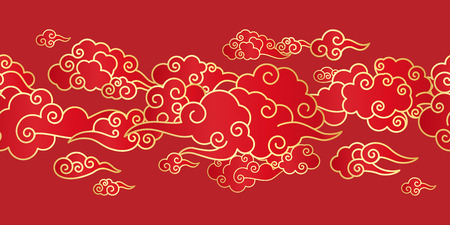 Seamless border with Golden Chinese clouds different shapes on a red background. Template for oriental art decoration.