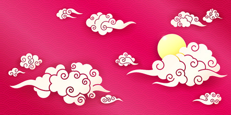 Sky with Chinese clouds different shapes on a red background. Template for oriental art decoration. Paper cut style