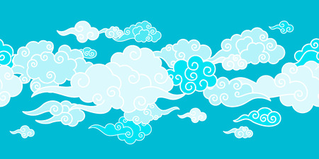 Seamless border with Chinese clouds different shapes. Template for oriental art decoration. Illustration