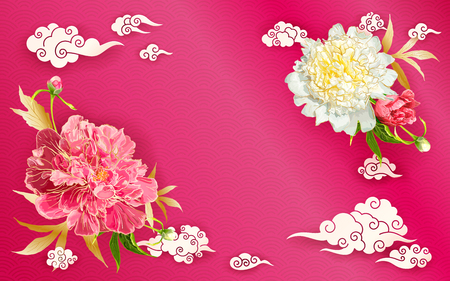 Oriental background with red and pink peonies flowers, leaves, buds and decorative chinese clouds. Paper cut style.