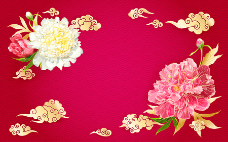 Oriental background with red and pink peonies flowers, leaves, buds and decorative golden chinese clouds. Paper cut style.
