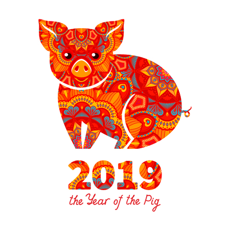 Pig is a symbol of the 2019 Chinese New Year. Decorative ornamented zodiac sign Pig on white background Vettoriali