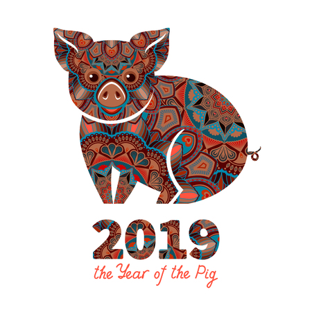 Pig is a symbol of the 2019 Chinese New Year. Decorative ornamented zodiac sign Pig on white background Stock Vector - 105514936
