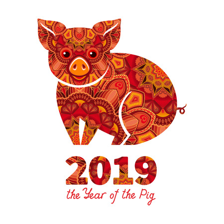 Pig is a symbol of the 2019 Chinese New Year. Decorative ornamented zodiac sign Pig on white background Stock Vector - 105514938